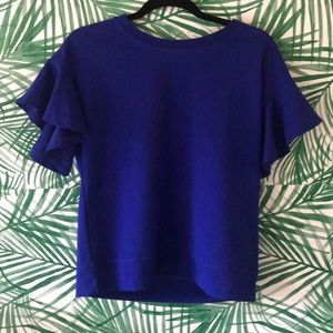Rose + olive cobalt blue blouse with flutter sleev
